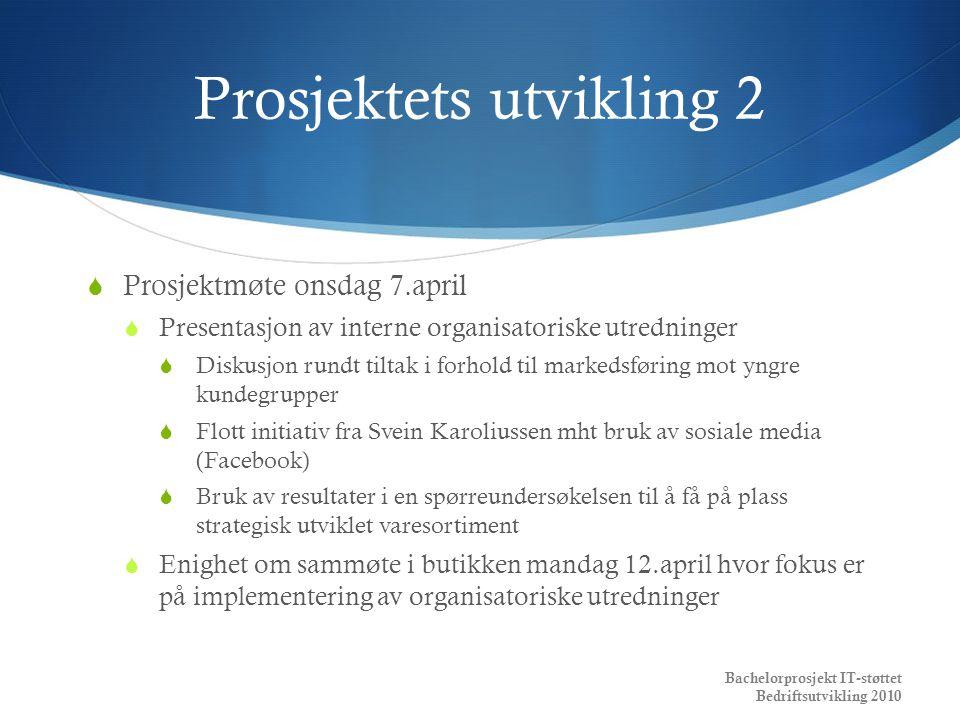 Prosjektets utvikling 2  Prosjektmøte onsdag 7.april  Presentasjon av interne organisatoriske utredninger  Diskusjon rundt tiltak i forhold til mar