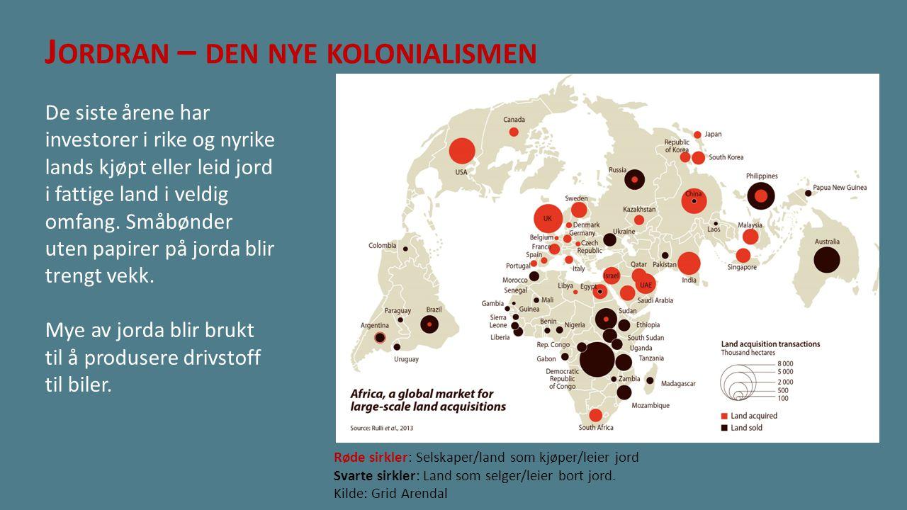 J ORDRAN – DEN NYE KOLONIALISMEN De siste årene har investorer i rike og nyrike lands kjøpt eller leid jord i fattige land i veldig omfang. Småbønder