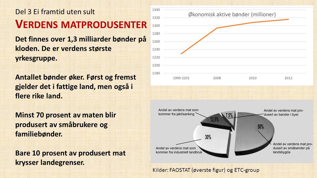 Del 3 Ei framtid uten sult V ERDENS MATPRODUSENTER Det finnes over 1,3 milliarder bønder på kloden. De er verdens største yrkesgruppe. Antallet bønder
