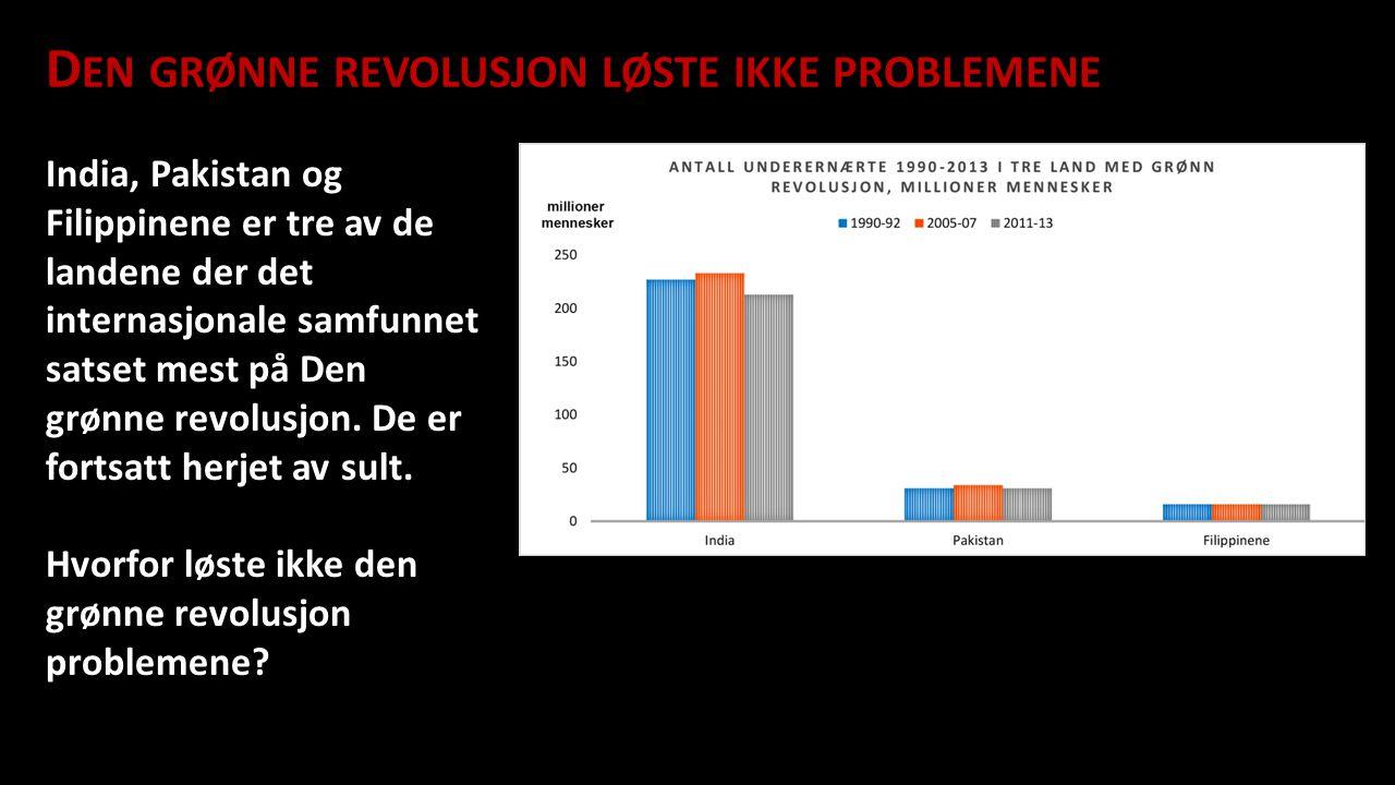 Den grønne revolusjon løste ikke problemene D EN GRØNNE REVOLUSJON LØSTE IKKE PROBLEMENE India, Pakistan og Filippinene er tre av de landene der det i