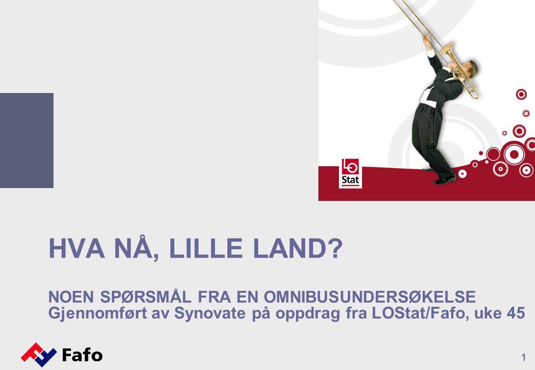 HVA NÅ, LILLE LAND? NOEN SPØRSMÅL FRA EN OMNIBUSUNDERSØKELSE Gjennomført av Synovate på oppdrag fra LOStat/Fafo, uke 45 1