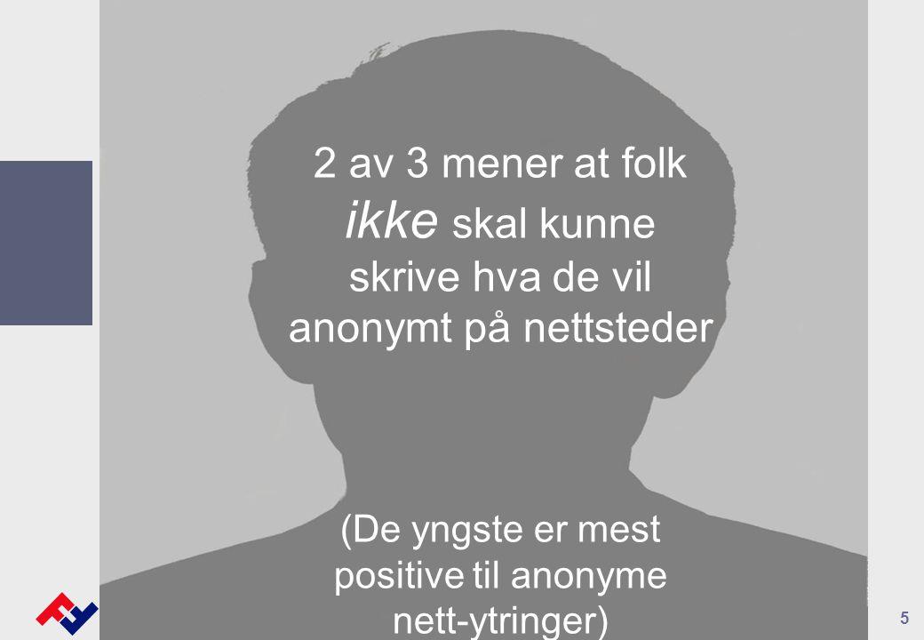 5 2 av 3 mener at folk ikke skal kunne skrive hva de vil anonymt på nettsteder (De yngste er mest positive til anonyme nett-ytringer)