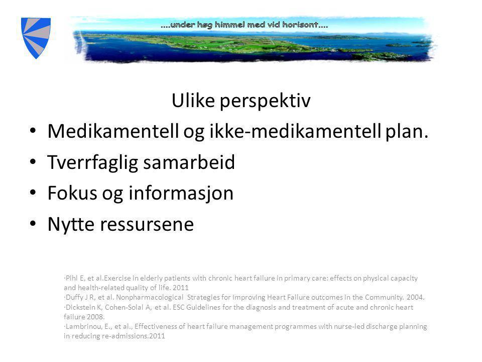 Ulike perspektiv • Medikamentell og ikke-medikamentell plan.