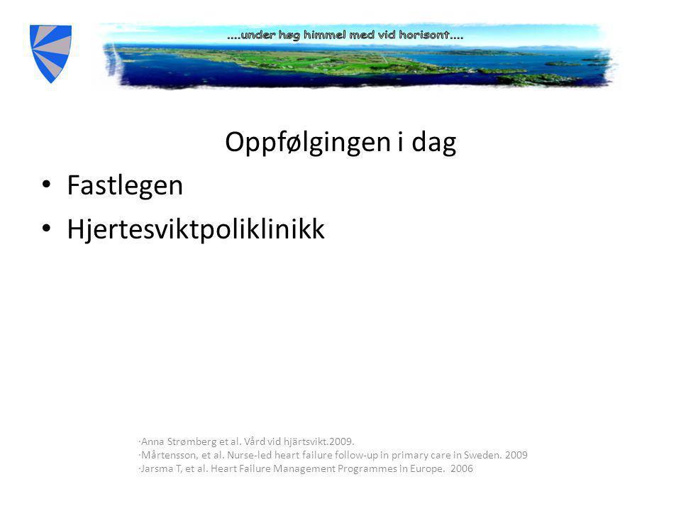 Oppfølging i dag Oppfølgingen i dag • Fastlegen • Hjertesviktpoliklinikk ∙Anna Strømberg et al.