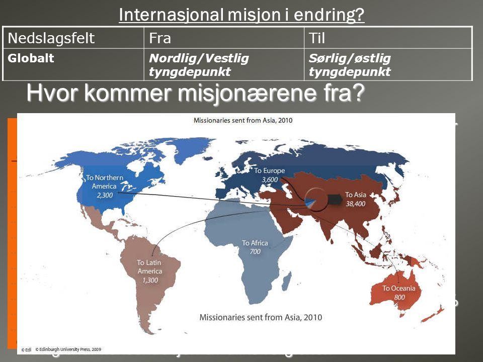 Internasjonal misjon i endring? NedslagsfeltFraTil GlobaltNordlig/Vestlig tyngdepunkt Sørlig/østlig tyngdepunkt Hvor kommer misjonærene fra? • USA er