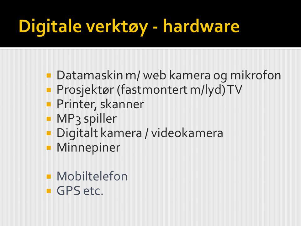  Datamaskin m/ web kamera og mikrofon  Prosjektør (fastmontert m/lyd) TV  Printer, skanner  MP3 spiller  Digitalt kamera / videokamera  Minnepin