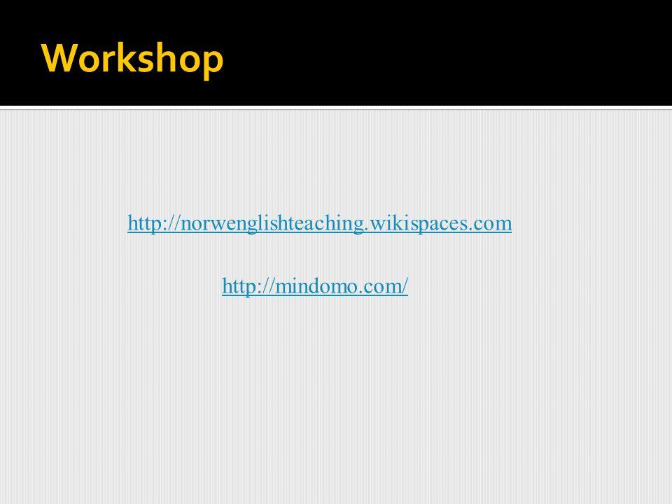 Workshop http://mindomo.com/ http://norwenglishteaching.wikispaces.com