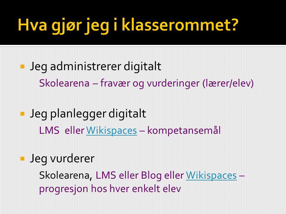  Jeg administrerer digitalt Skolearena – fravær og vurderinger (lærer/elev)  Jeg planlegger digitalt LMS eller Wikispaces – kompetansemålWikispaces