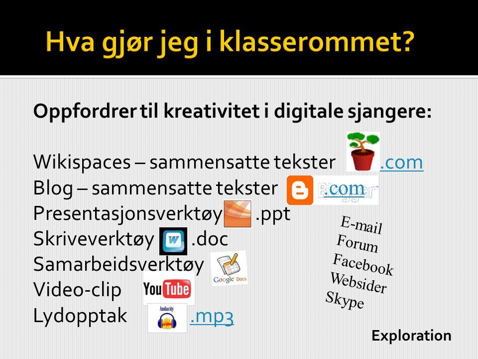 Oppfordrer til kreativitet i digitale sjangere: Wikispaces – sammensatte tekster r -.com.com Blog – sammensatte tekster -.com Presentasjonsverktøy -.p