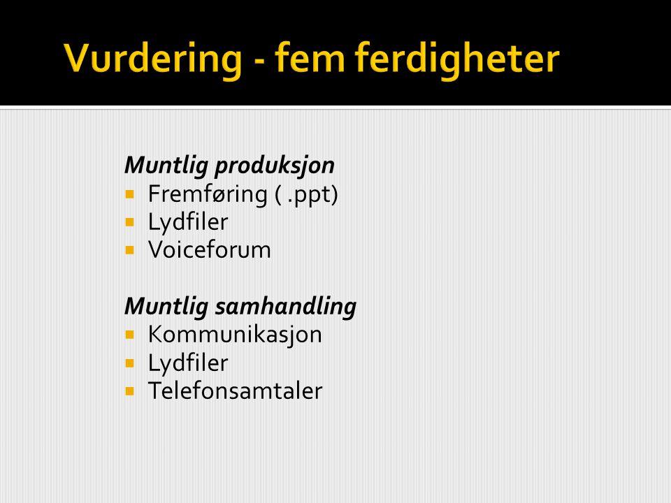 Muntlig produksjon  Fremføring (.ppt)  Lydfiler  Voiceforum Muntlig samhandling  Kommunikasjon  Lydfiler  Telefonsamtaler