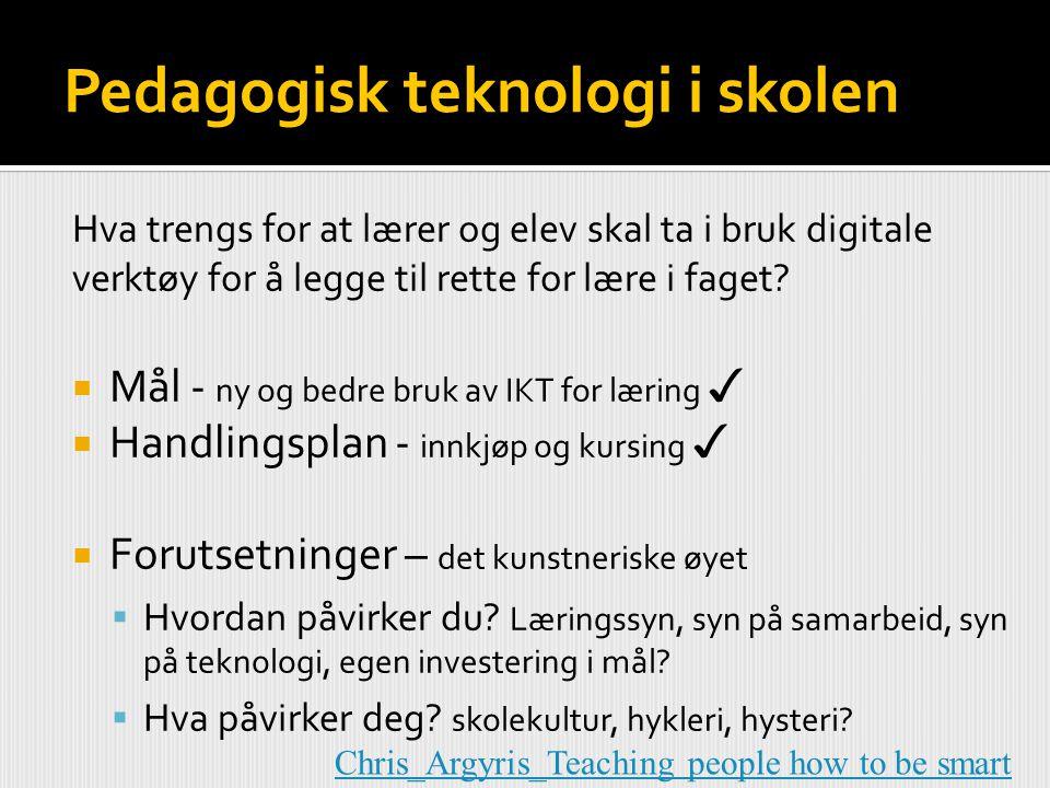 Pedagogisk teknologi i skolen Hva trengs for at lærer og elev skal ta i bruk digitale verktøy for å legge til rette for lære i faget?  Mål - ny og be