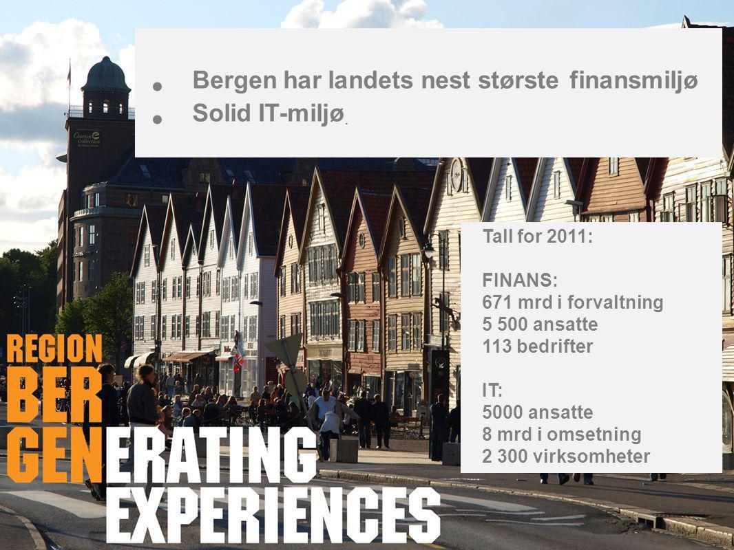 • Bergen har landets nest største finansmiljø • Solid IT-miljø. Tall for 2011: FINANS: 671 mrd i forvaltning 5 500 ansatte 113 bedrifter IT: 5000 ansa