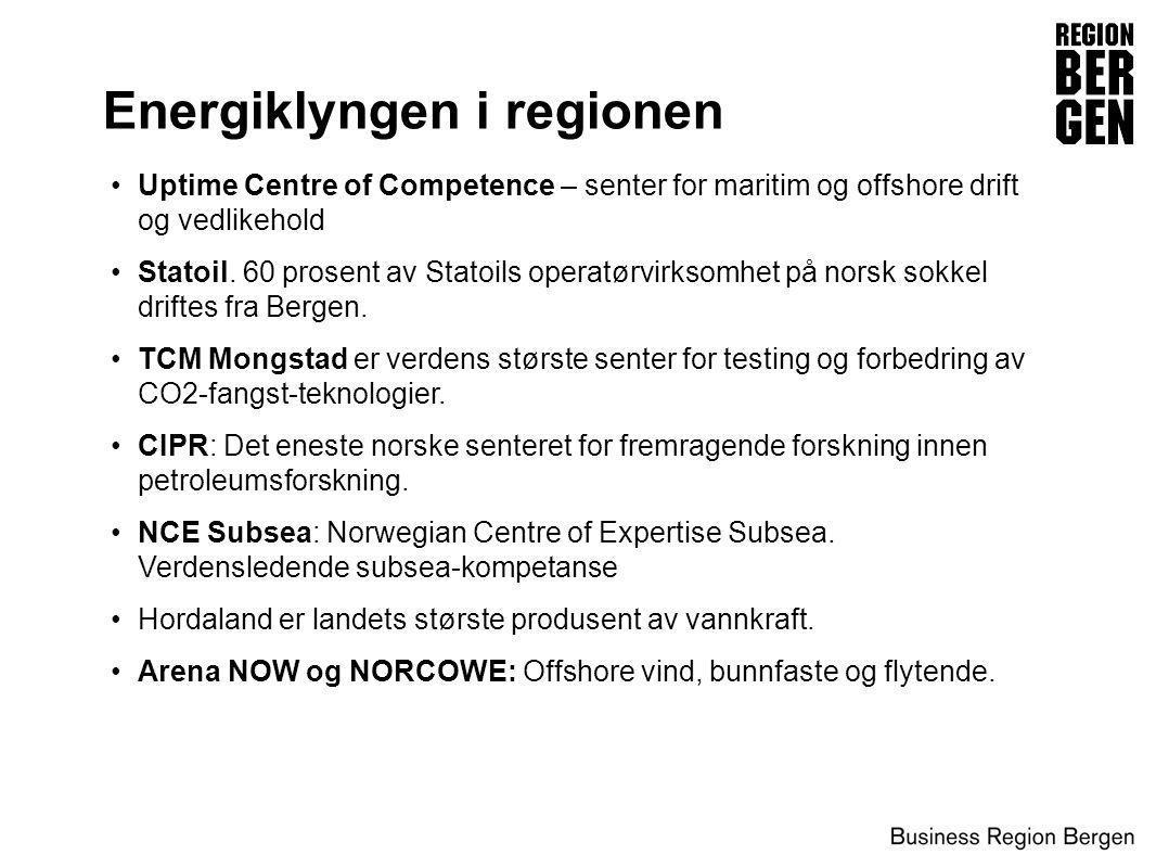 Energiklyngen i regionen •Uptime Centre of Competence – senter for maritim og offshore drift og vedlikehold •Statoil. 60 prosent av Statoils operatørv