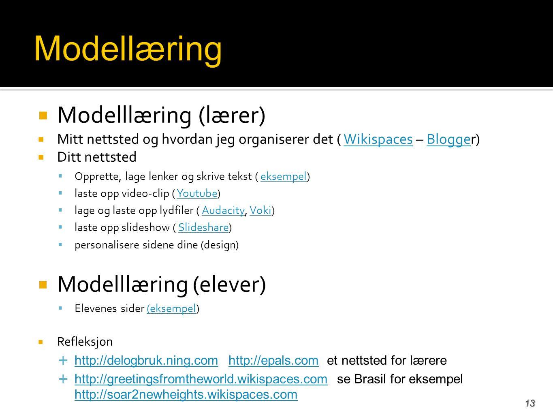  Modelllæring (lærer)  Mitt nettsted og hvordan jeg organiserer det ( Wikispaces – Blogger)WikispacesBlogge  Ditt nettsted  Opprette, lage lenker og skrive tekst ( eksempel)eksempel  laste opp video-clip ( Youtube)Youtube  lage og laste opp lydfiler ( Audacity, Voki)AudacityVoki  laste opp slideshow ( Slideshare)Slideshare  personalisere sidene dine (design)  Modelllæring (elever)  Elevenes sider (eksempel)(eksempel  Refleksjon  http://delogbruk.ning.com http://epals.com et nettsted for lærere http://delogbruk.ning.comhttp://epals.com  http://greetingsfromtheworld.wikispaces.com se Brasil for eksempel http://soar2newheights.wikispaces.com http://greetingsfromtheworld.wikispaces.com http://soar2newheights.wikispaces.com 13
