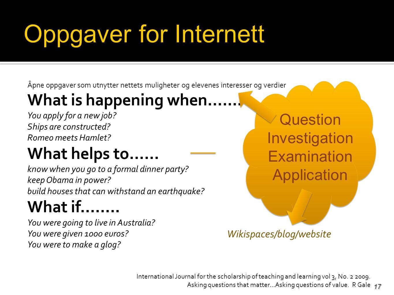 Åpne oppgaver som utnytter nettets muligheter og elevenes interesser og verdier What is happening when…....