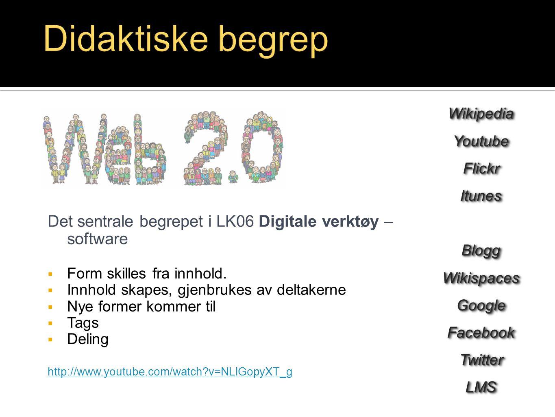 Det sentrale begrepet i LK06 Digitale verktøy – software  Form skilles fra innhold.  Innhold skapes, gjenbrukes av deltakerne  Nye former kommer ti