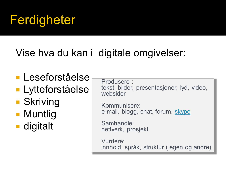 Vise hva du kan i digitale omgivelser:  Leseforståelse  Lytteforståelse  Skriving  Muntlig  digitalt Produsere : tekst, bilder, presentasjoner, l