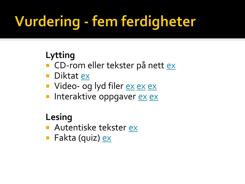 Lytting  CD-rom eller tekster på nett exex  Diktat exex  Video- og lyd filer ex ex exex  Interaktive oppgaver ex exex Lesing  Autentiske tekster exex  Fakta (quiz) exex