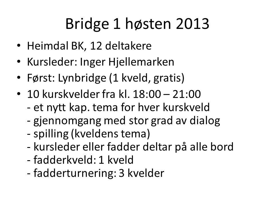 Bridge 1 høsten 2013 • Heimdal BK, 12 deltakere • Kursleder: Inger Hjellemarken • Først: Lynbridge (1 kveld, gratis) • 10 kurskvelder fra kl. 18:00 –