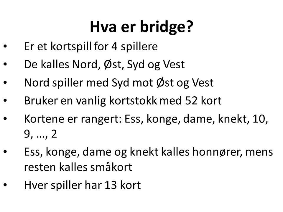 Hva er bridge? • Er et kortspill for 4 spillere • De kalles Nord, Øst, Syd og Vest • Nord spiller med Syd mot Øst og Vest • Bruker en vanlig kortstokk