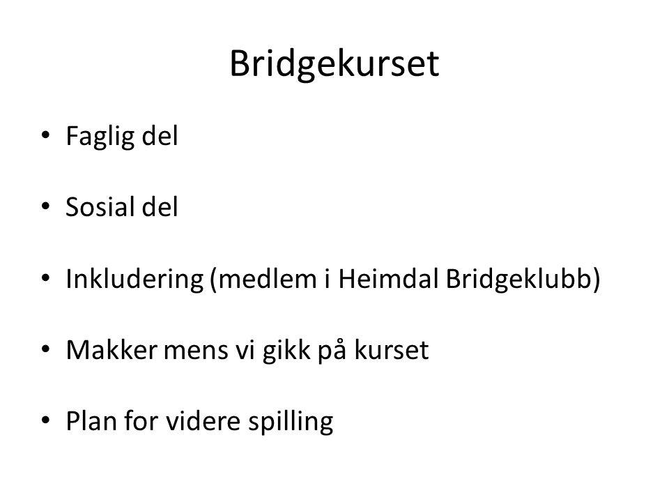 Bridgekurset • Faglig del • Sosial del • Inkludering (medlem i Heimdal Bridgeklubb) • Makker mens vi gikk på kurset • Plan for videre spilling