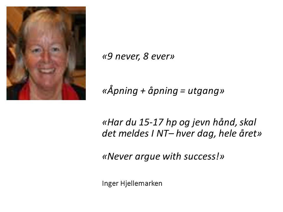 «9 never, 8 ever» «Åpning + åpning = utgang» «Har du 15-17 hp og jevn hånd, skal det meldes I NT– hver dag, hele året» «Never argue with success!» Ing