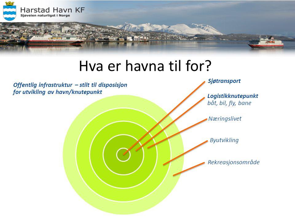Noen betraktninger – Harstad Havn KF • 410 000 tonn gods i 2011, herav ca 234 000 tonn i tankbåt • Ca 4400 anløp (herav 233 utenriks i 2011) • Ca.