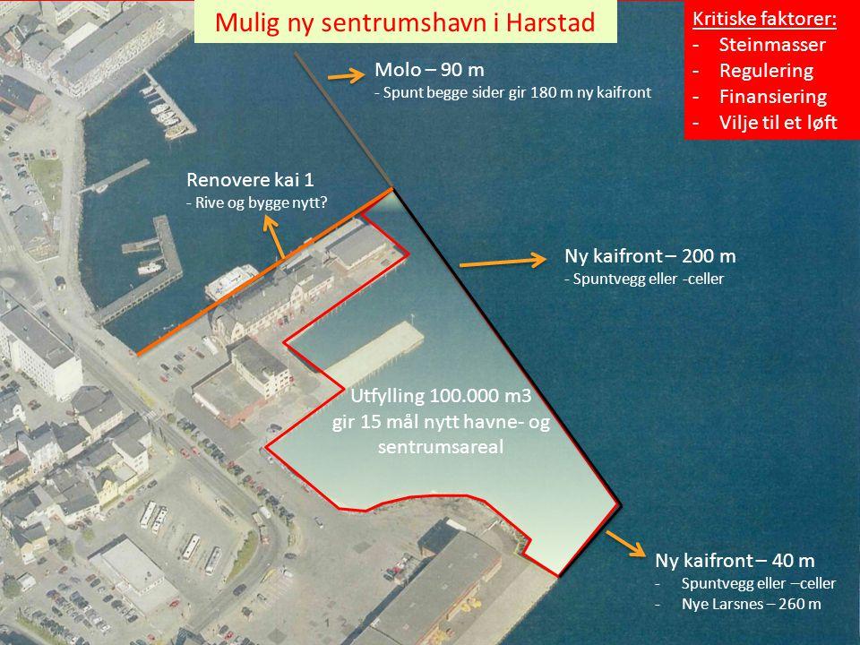 Utfylling 100.000 m3 gir 15 mål nytt havne- og sentrumsareal Molo – 90 m - Spunt begge sider gir 180 m ny kaifront Ny kaifront – 200 m - Spuntvegg ell