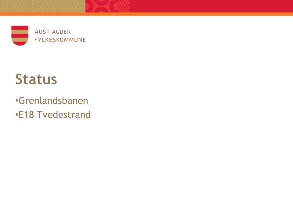 Status • Grenlandsbanen • E18 Tvedestrand