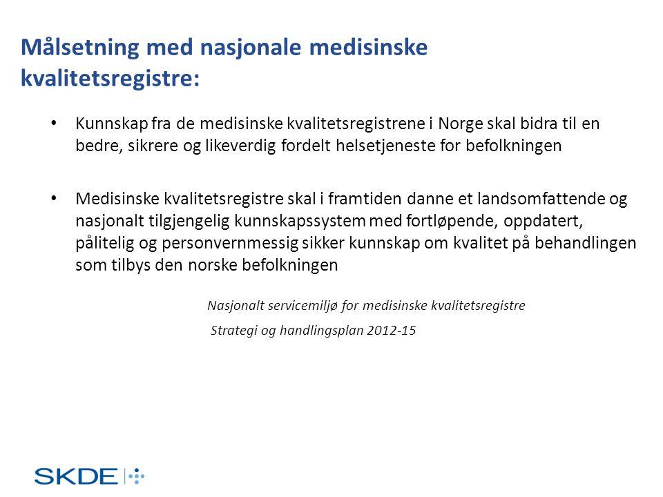 Målsetning med nasjonale medisinske kvalitetsregistre: • Kunnskap fra de medisinske kvalitetsregistrene i Norge skal bidra til en bedre, sikrere og li