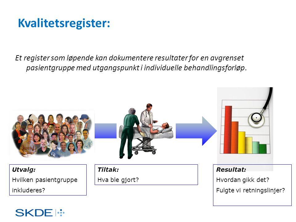 Kvalitetsregister: Et register som løpende kan dokumentere resultater for en avgrenset pasientgruppe med utgangspunkt i individuelle behandlingsforløp