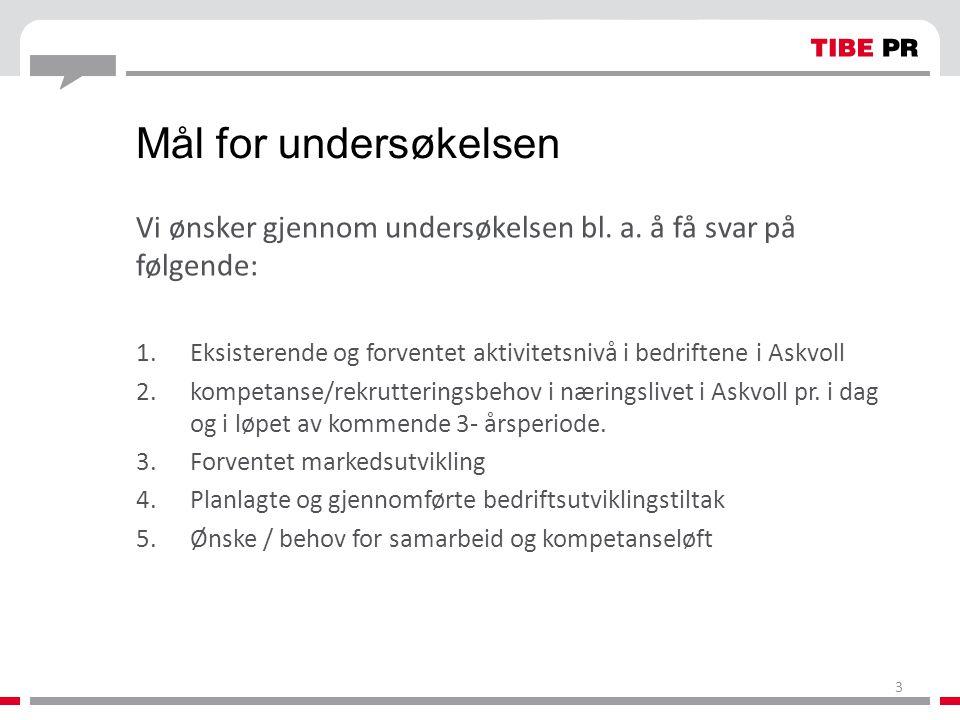 Mål for undersøkelsen Vi ønsker gjennom undersøkelsen bl. a. å få svar på følgende: 1.Eksisterende og forventet aktivitetsnivå i bedriftene i Askvoll