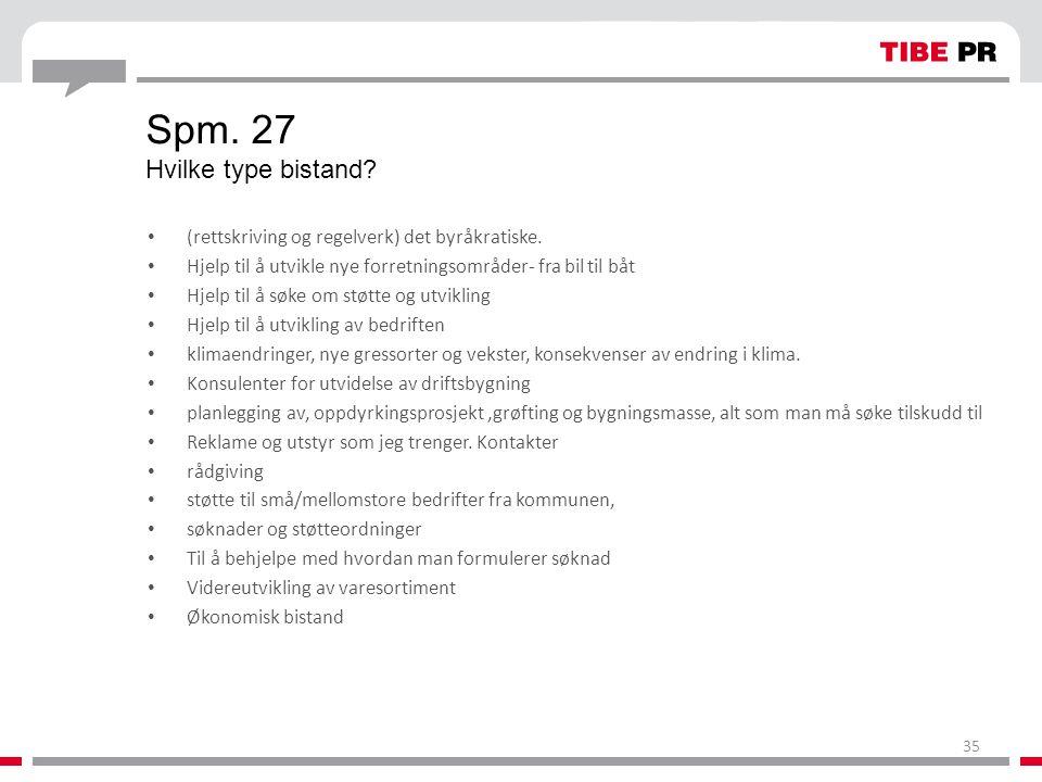Spm. 27 Hvilke type bistand? • (rettskriving og regelverk) det byråkratiske. • Hjelp til å utvikle nye forretningsområder- fra bil til båt • Hjelp til
