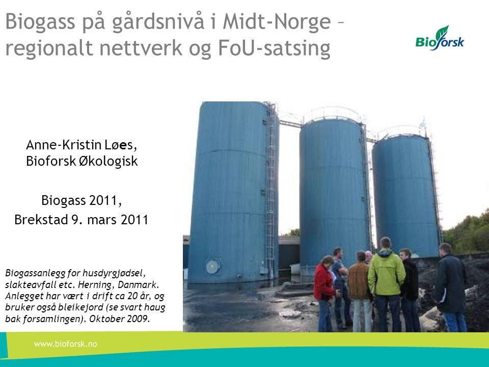 Biogass på gårdsnivå i Midt-Norge – regionalt nettverk og FoU-satsing Anne-Kristin Løes, Bioforsk Økologisk Biogass 2011, Brekstad 9. mars 2011 Biogas