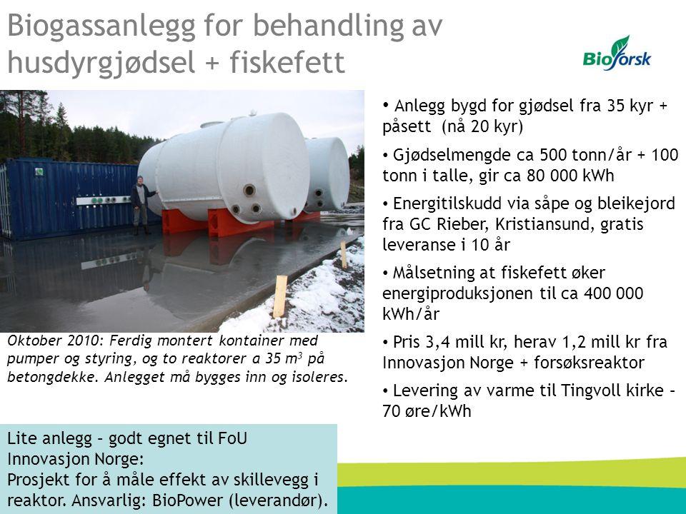 Biogassanlegg for behandling av husdyrgjødsel + fiskefett Oktober 2010: Ferdig montert kontainer med pumper og styring, og to reaktorer a 35 m 3 på be