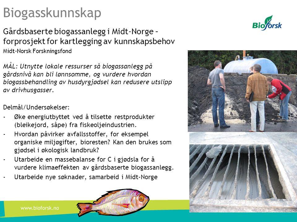 Biogasskunnskap Gårdsbaserte biogassanlegg i Midt-Norge – forprosjekt for kartlegging av kunnskapsbehov Midt-Norsk Forskningsfond MÅL: Utnytte lokale
