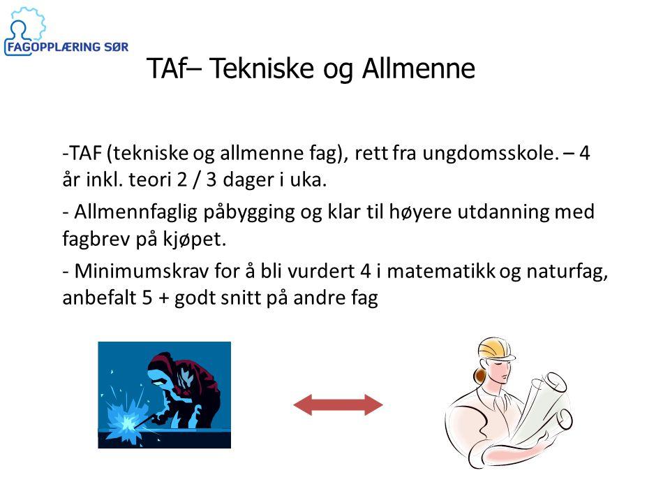 TAf– Tekniske og Allmenne Fag -TAF (tekniske og allmenne fag), rett fra ungdomsskole. – 4 år inkl. teori 2 / 3 dager i uka. - Allmennfaglig påbygging