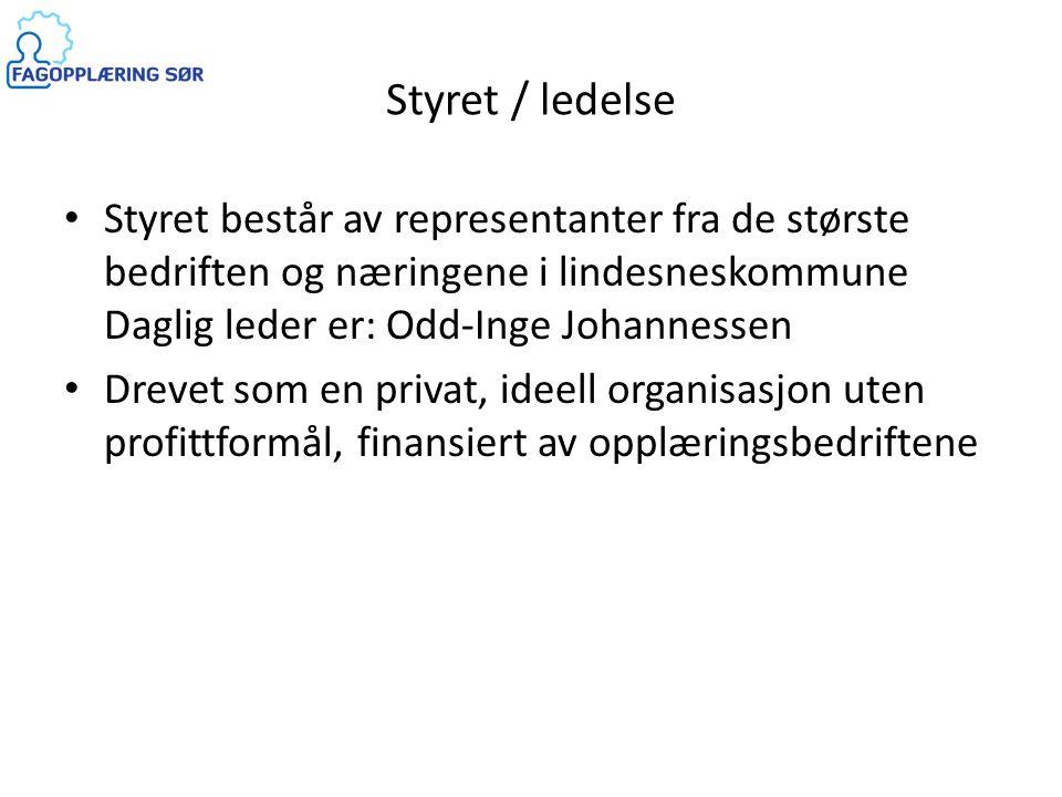 Styret / ledelse • Styret består av representanter fra de største bedriften og næringene i lindesneskommune Daglig leder er: Odd-Inge Johannessen • Dr