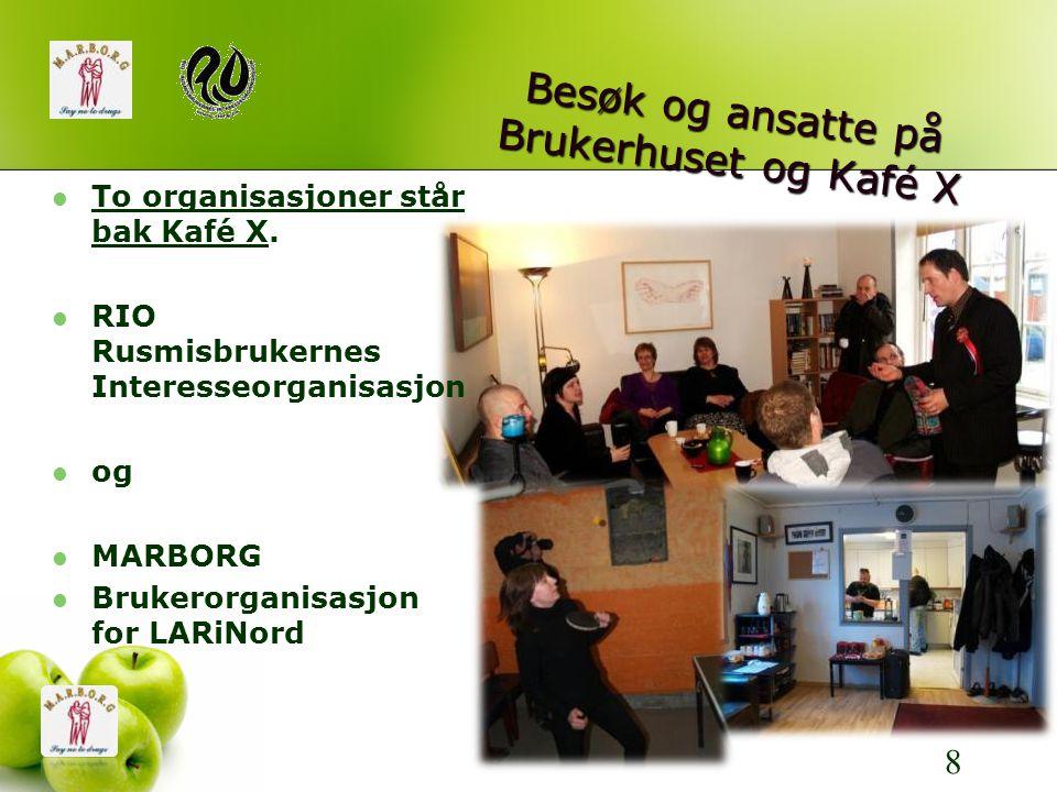 Besøk og ansatte på Brukerhuset og Kafé X 8  To organisasjoner står bak Kafé X.