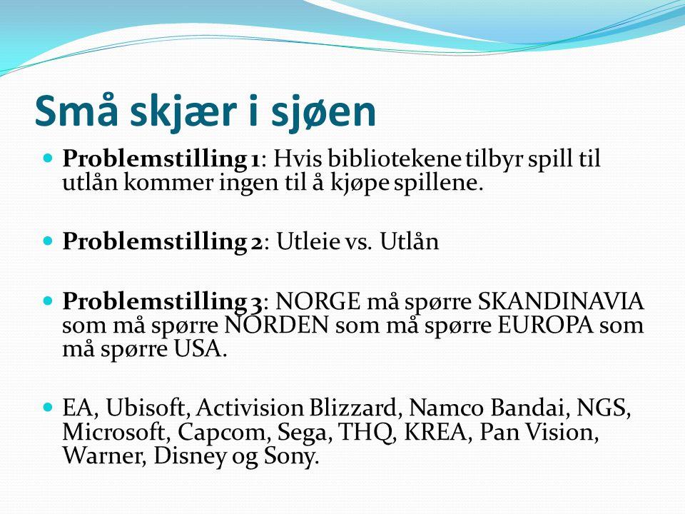 Små skjær i sjøen  Problemstilling 1: Hvis bibliotekene tilbyr spill til utlån kommer ingen til å kjøpe spillene.  Problemstilling 2: Utleie vs. Utl