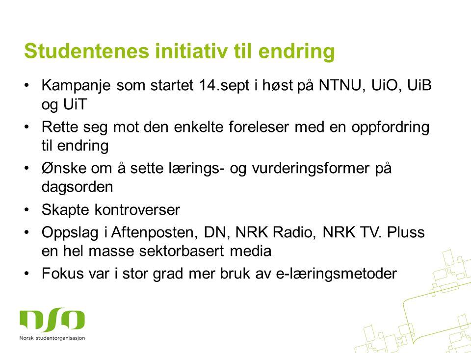•Kampanje som startet 14.sept i høst på NTNU, UiO, UiB og UiT •Rette seg mot den enkelte foreleser med en oppfordring til endring •Ønske om å sette lærings- og vurderingsformer på dagsorden •Skapte kontroverser •Oppslag i Aftenposten, DN, NRK Radio, NRK TV.