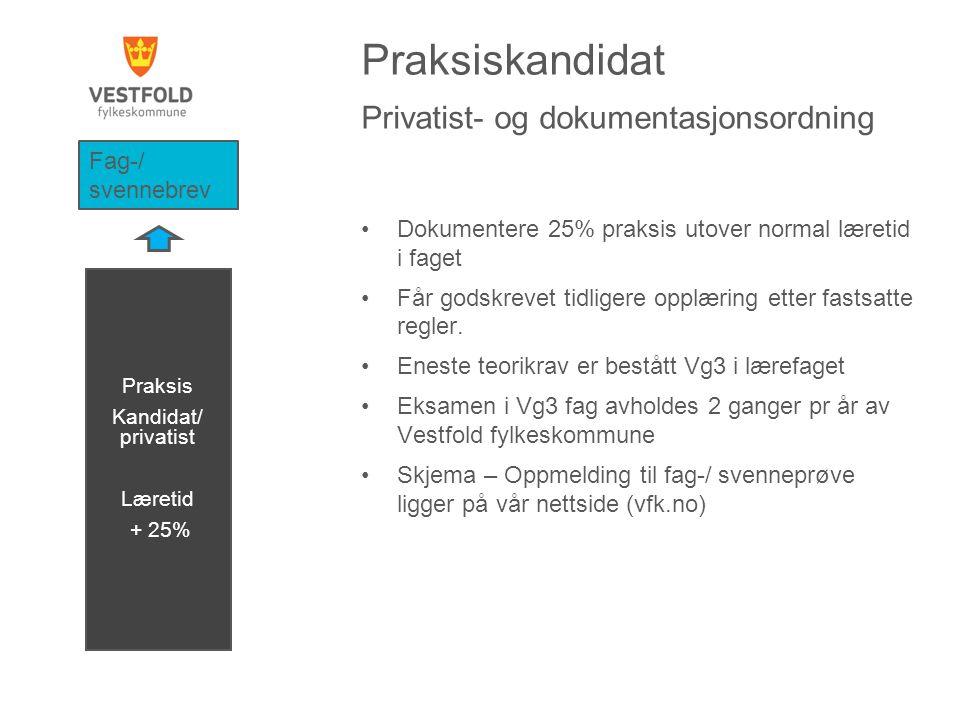 Praksiskandidat Privatist- og dokumentasjonsordning •Dokumentere 25% praksis utover normal læretid i faget •Får godskrevet tidligere opplæring etter f