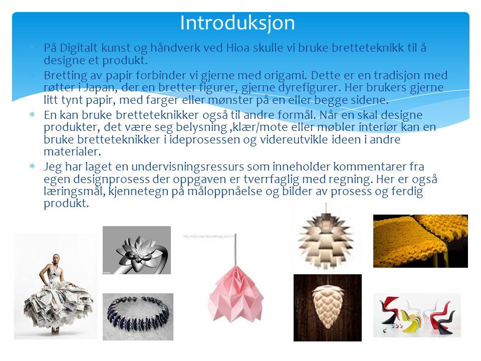  På Digitalt kunst og håndverk ved Hioa skulle vi bruke bretteteknikk til å designe et produkt.  Bretting av papir forbinder vi gjerne med origami.