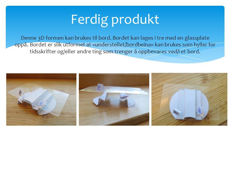  Du skal bruke bretteteknikker til å lage en 3D form om du skal videreutvikle til et produkt.