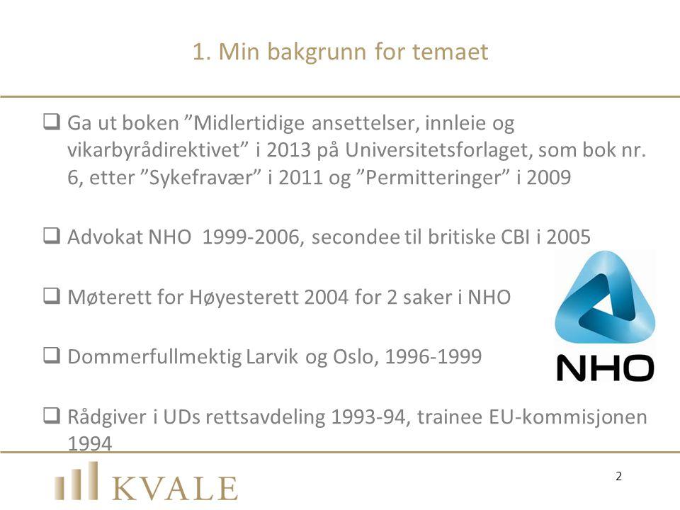 1.2 Målet med dagens sesjon  Bakgrunnen for vikarbyrådirektivet  Implementeringen i norsk rett  Tolkningen av de norske innleiebestemmelsene  Praktiske råd  Mulige fallgruver 3