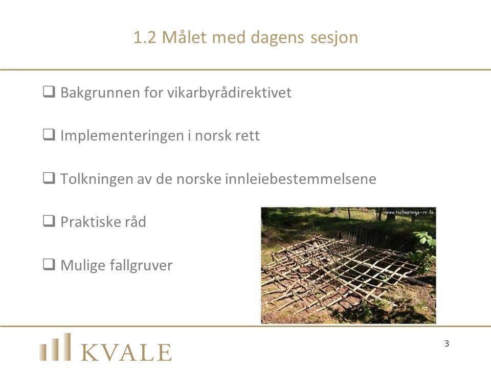 1.2 Målet med dagens sesjon  Bakgrunnen for vikarbyrådirektivet  Implementeringen i norsk rett  Tolkningen av de norske innleiebestemmelsene  Prak