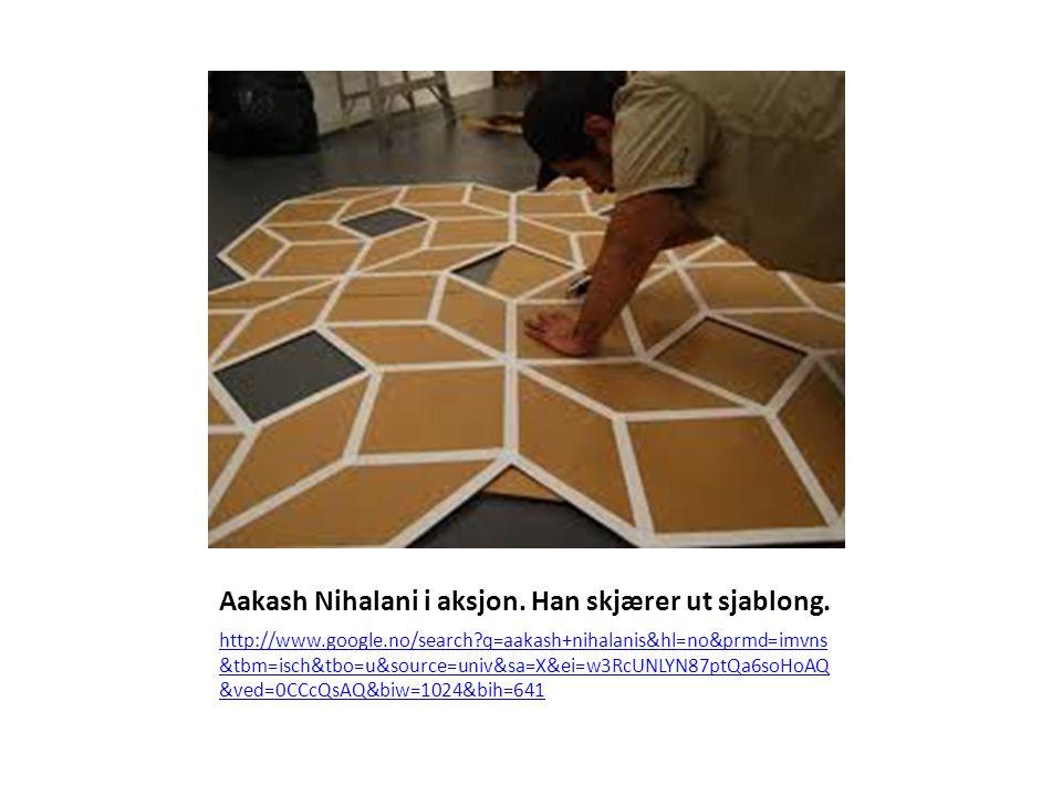 Aakash Nihalani i aksjon. Han skjærer ut sjablong. http://www.google.no/search?q=aakash+nihalanis&hl=no&prmd=imvns &tbm=isch&tbo=u&source=univ&sa=X&ei