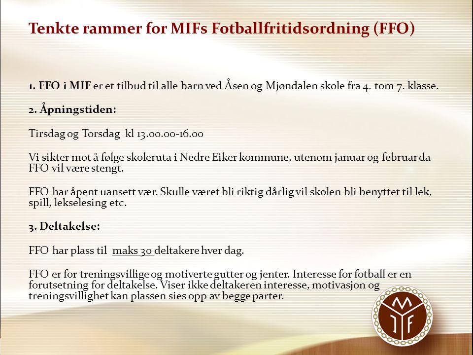 FFO Mjøndalen Fotball 4.Påmelding: Først-til-mølla - prinsippet gjelder.