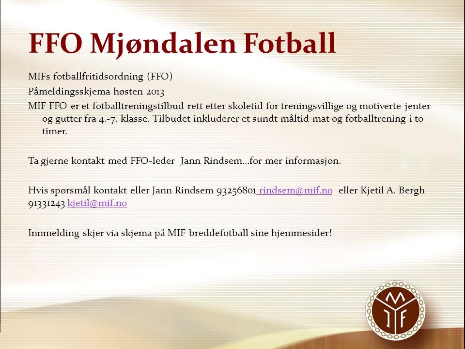 FFO Mjøndalen Fotball MIF FFO VÅRE TRENINGER del 1-2 I del 1 kan innholdet til individuell ballbehandling være;  1.