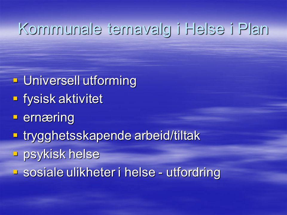 Kommunale temavalg i Helse i Plan  Universell utforming  fysisk aktivitet  ernæring  trygghetsskapende arbeid/tiltak  psykisk helse  sosiale ulikheter i helse - utfordring